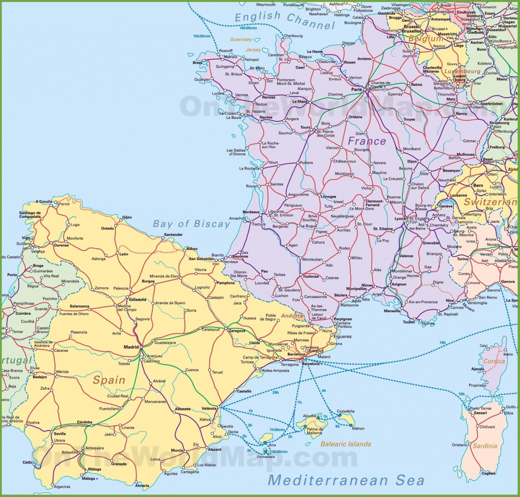Map Of Spain And France - Printable Map Of Spain