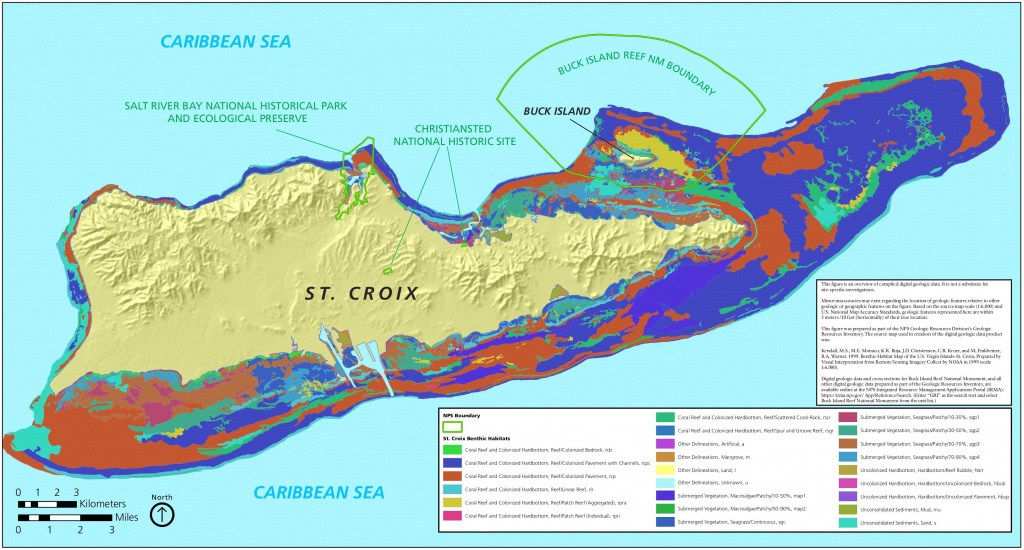 Map Of St. Croix Coral, Reef And Underwater Vegetation | St Croix - Printable Map Of St Croix