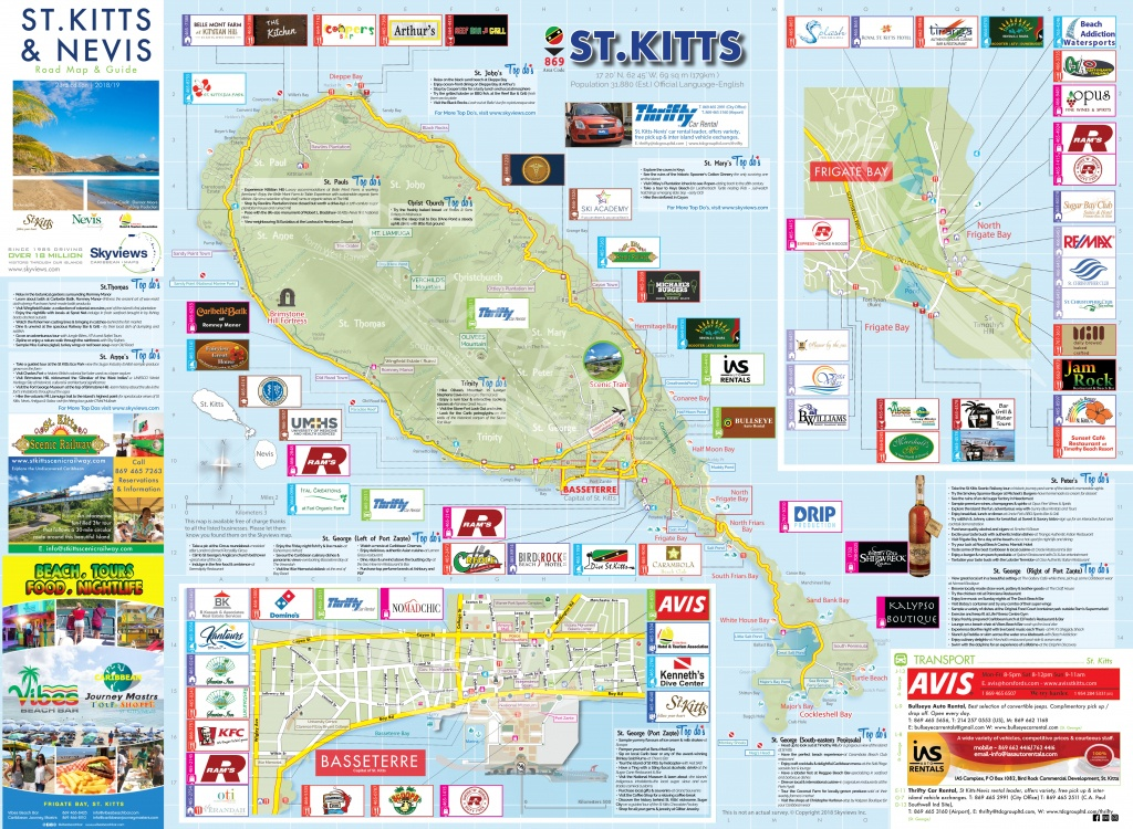 Map Of St. Kitts & Nevis - Caribbean Islands Maps And Guides - Printable Road Map Of St Maarten