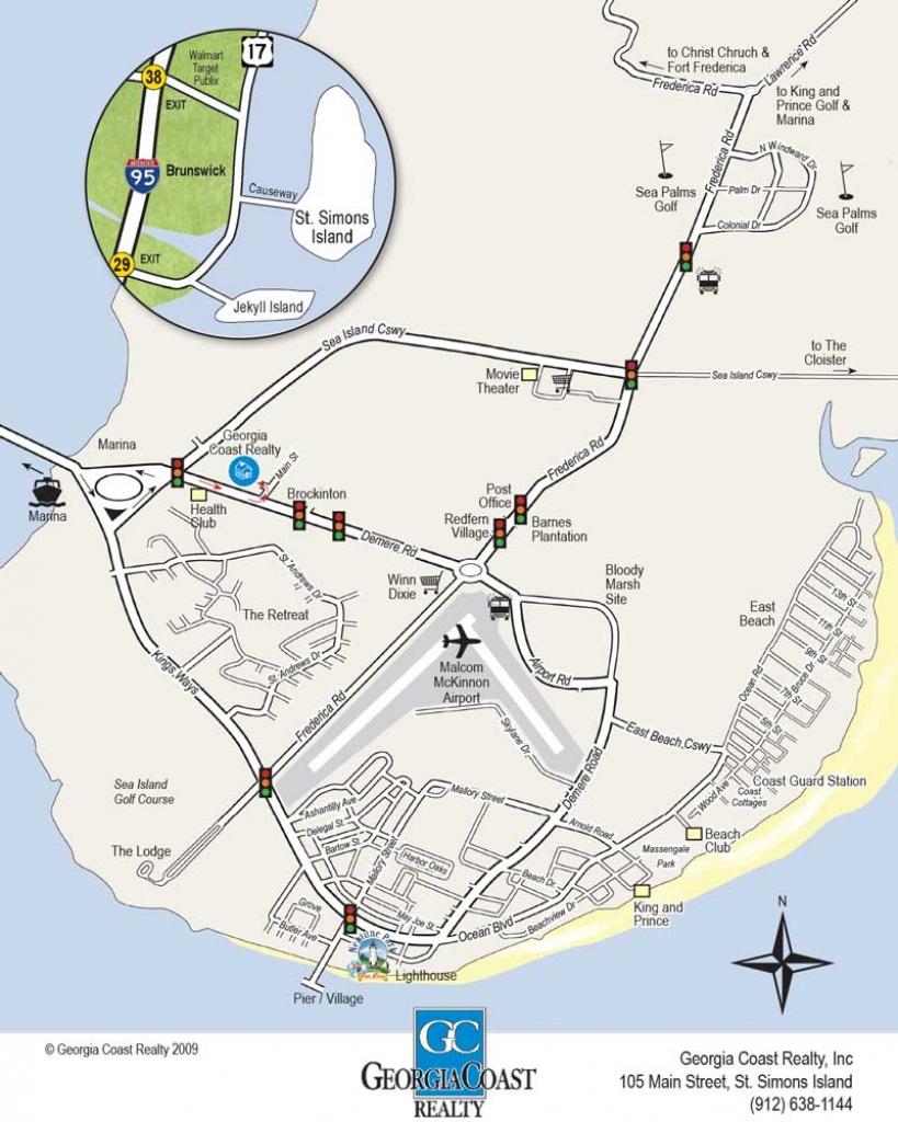 Map Of St. Simons Island Georgia | Georgia Coast Realty - Printable Map Of St Simons Island Ga