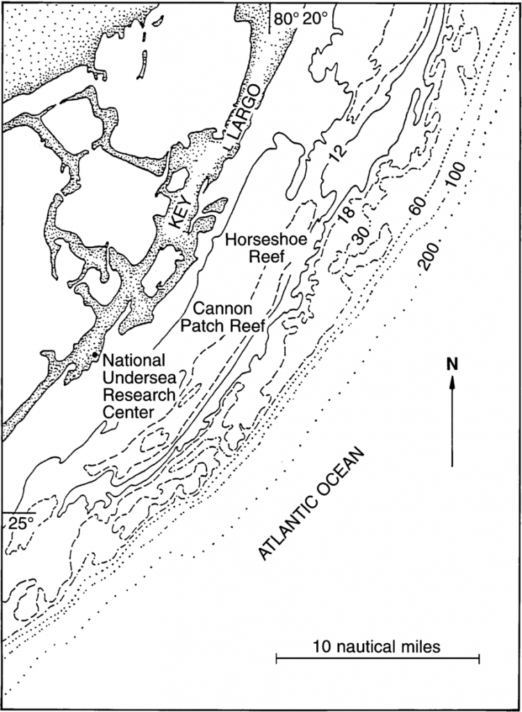 Map Of Study Area Of Modern Reefs Of The Florida Reef Tract - Florida Reef Maps App