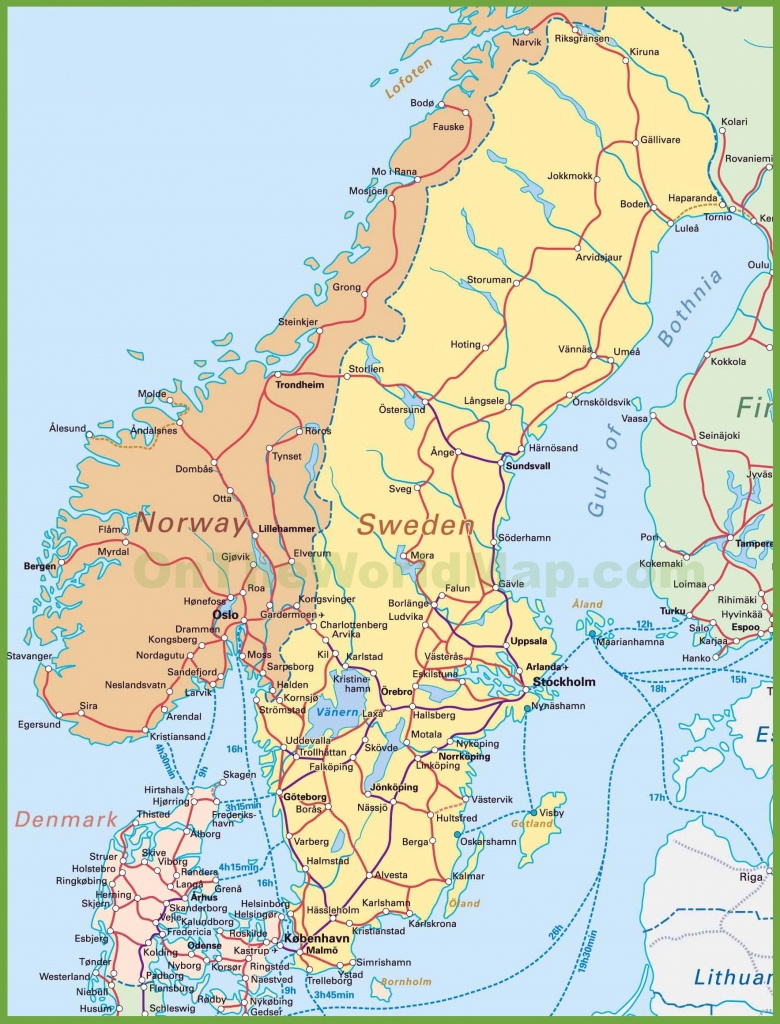 Map Of Sweden, Norway And Denmark - Printable Map Of Norway