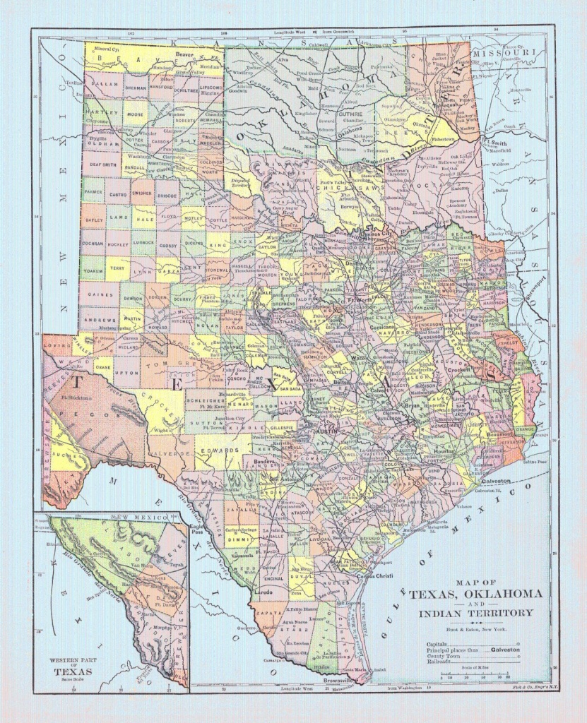 Map Of Texas, Oklahoma And Indian Territory. Hunt & Eaton, Fisk & Co - Live Map Of Texas