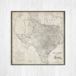 Map Of Texas, Texas Canvas Map, Texas State Map, Antique Texas Map   Texas Map Canvas