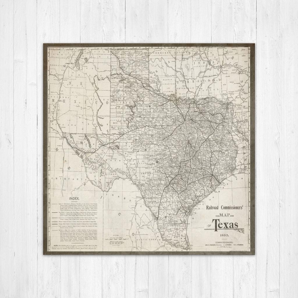 Map Of Texas, Texas Canvas Map, Texas State Map, Antique Texas Map - Texas Map Wall Decor