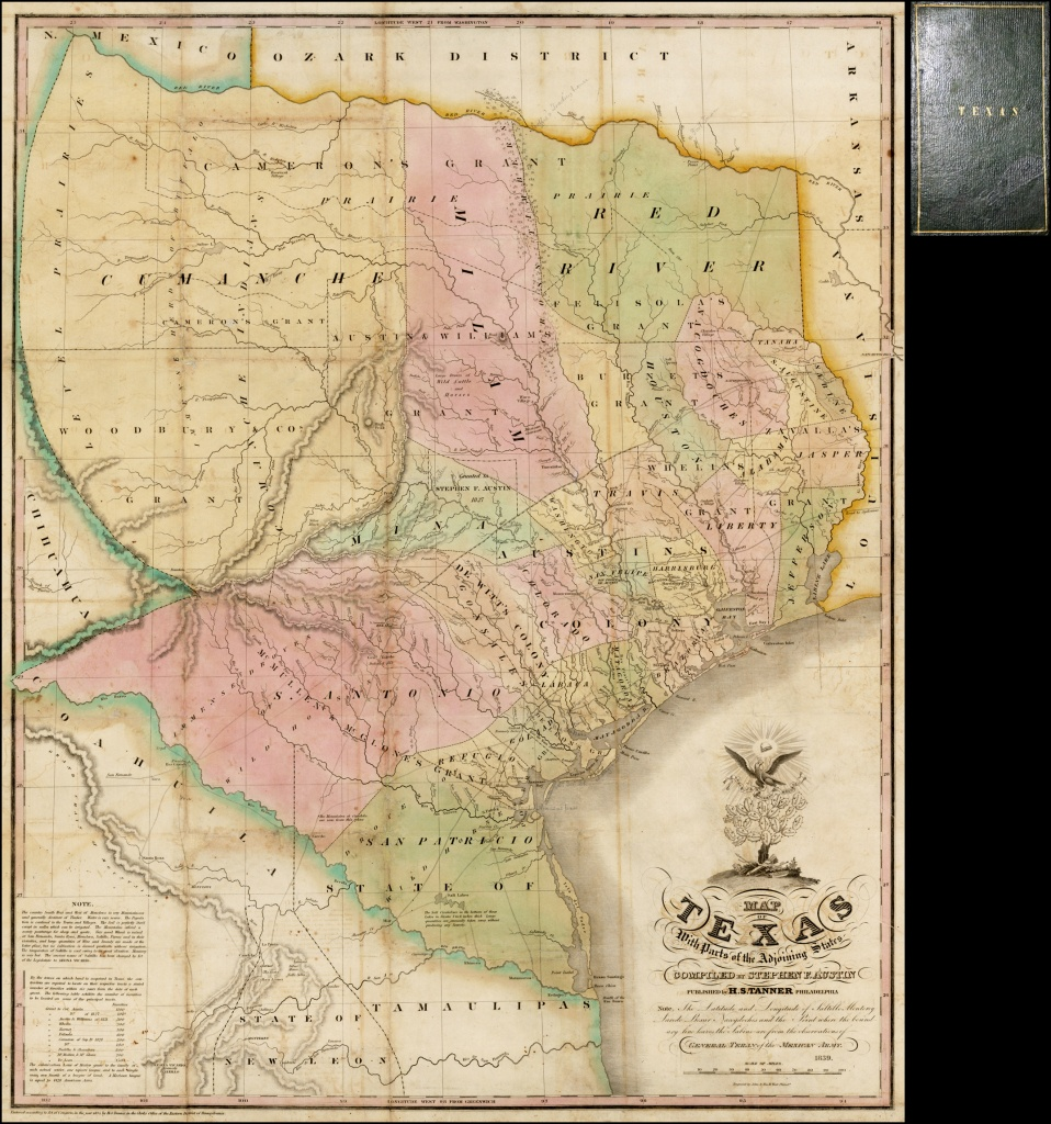 Map Of Texas With Parts Of The Adjoining States Compiledstephen - Stephen F Austin Map Of Texas