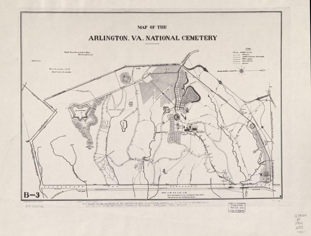 Map Of The Arlington, Va. National Cemetery   Library Of Congress - Printable Map Of Arlington National Cemetery