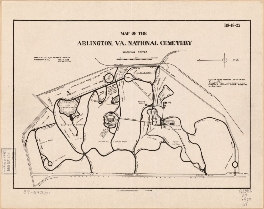 Map Of The Arlington, Va. National Cemetery Showing Drives   Library - Printable Map Of Arlington National Cemetery