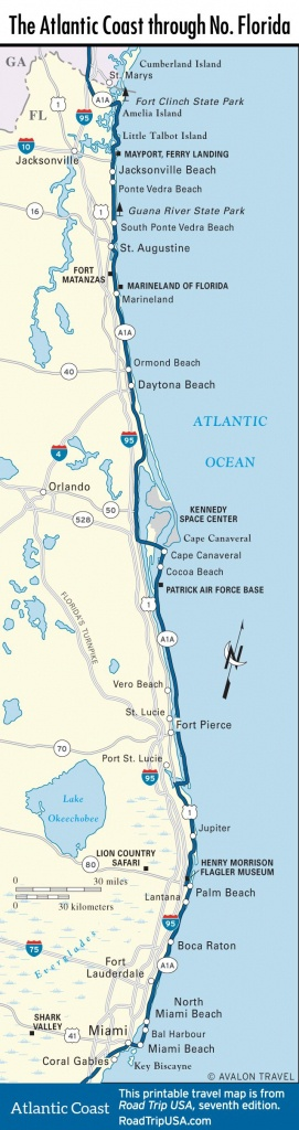 Map Of The Atlantic Coast Through Northern Florida. | Florida A1A - Florida East Coast Beaches Map