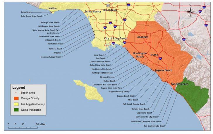 Beach Map Of California
