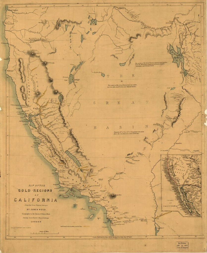 Map Of The Gold Regions Of California.   Library Of Congress - Gold In California Map