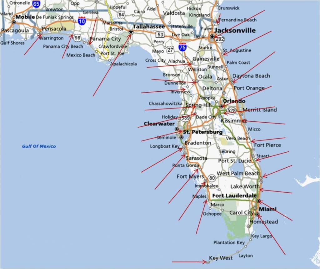 Map Of The Gulf Coast Of Florida And Travel Information | Download - Map Of Florida Showing Venice Beach