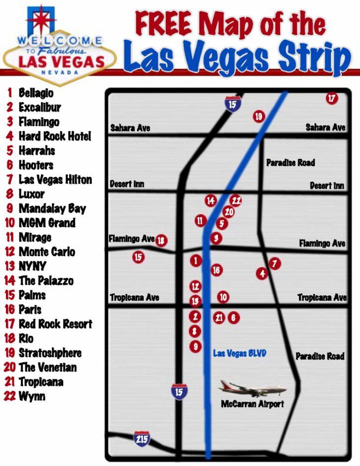 Printable Vegas Strip Map