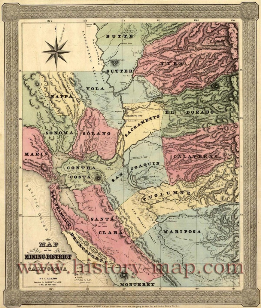 Map Of The Mining Districts Of California … | Gold | Map, … - California Gold Prospecting Map