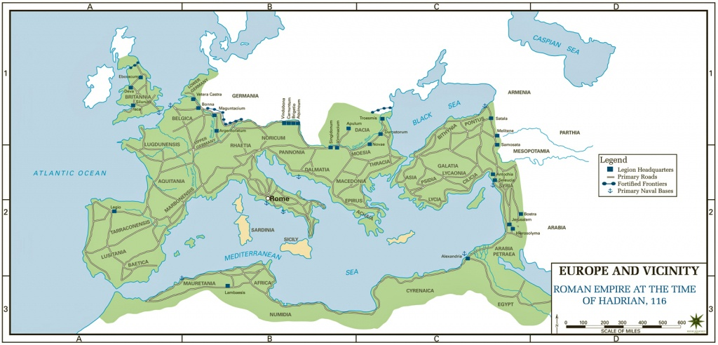 Map Of The Roman Empire Ad 117 (Usma) - Roman Empire Map For Kids Printable Map