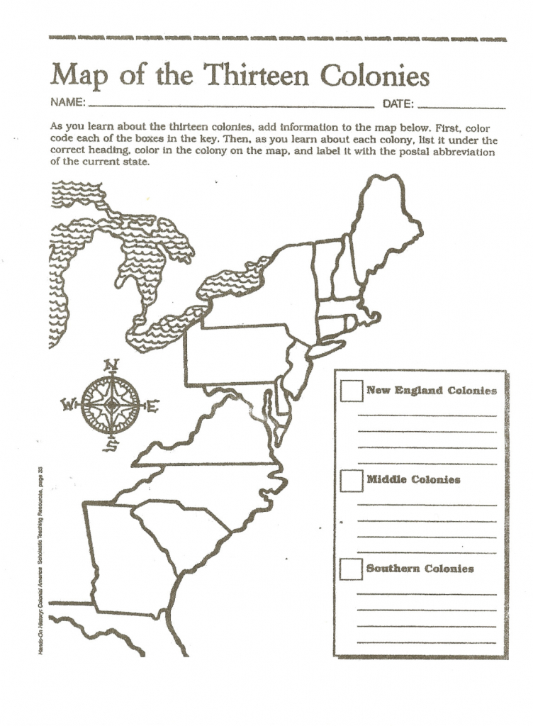 Map Of The Thirteen Colonies   Fifth Grade!   7Th Grade Social - Map Of The Thirteen Colonies Printable