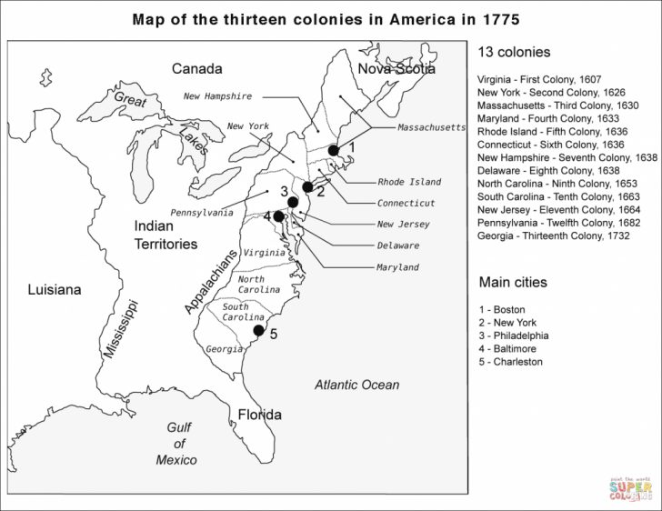 Printable Map Of The 13 Colonies With Names