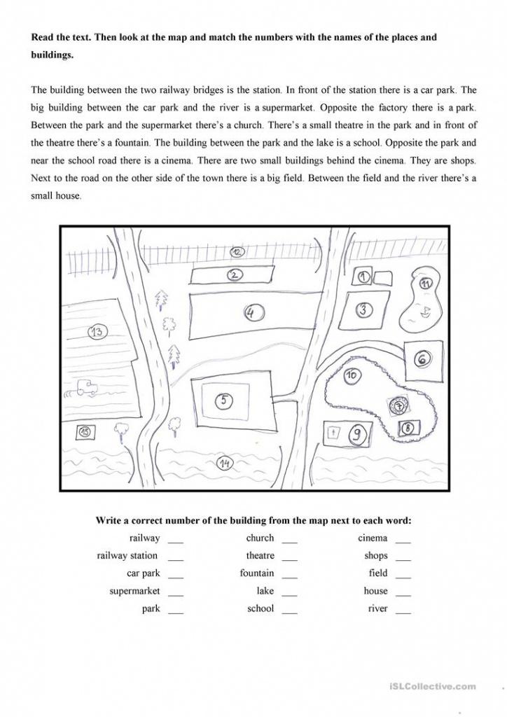 Map Of The Town Worksheet - Free Esl Printable Worksheets Made - Printable Map Worksheets