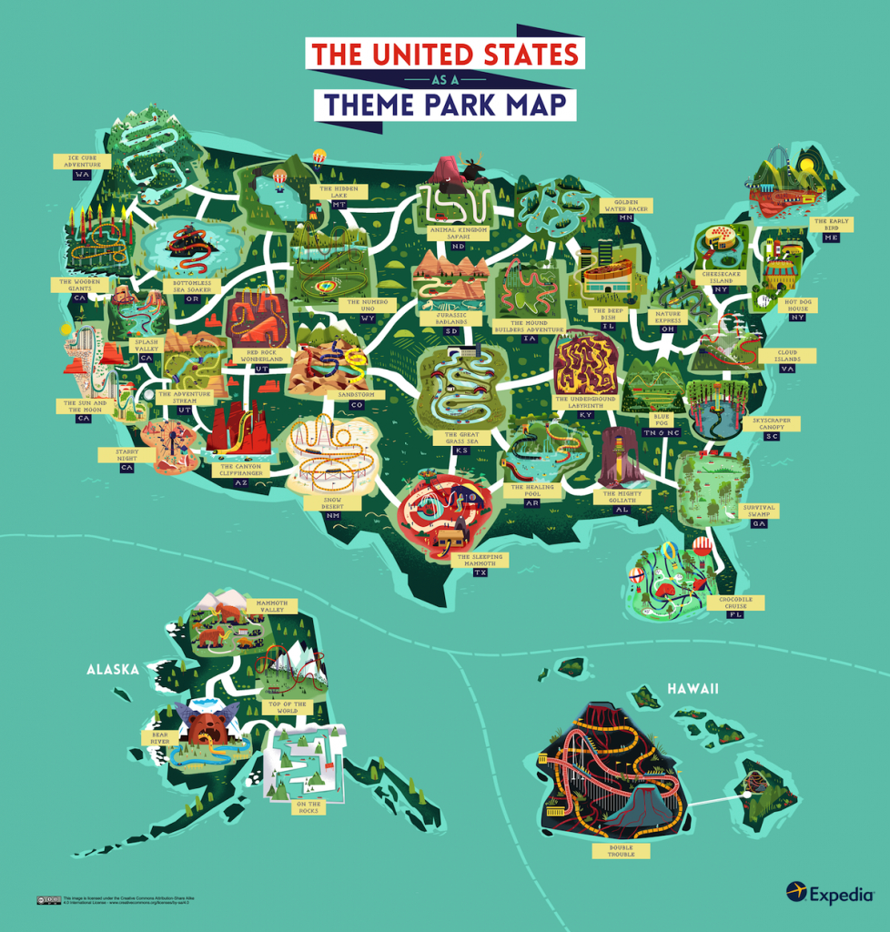Map Of The United States As A Theme Park. Would It Look Like This - Theme Parks California Map