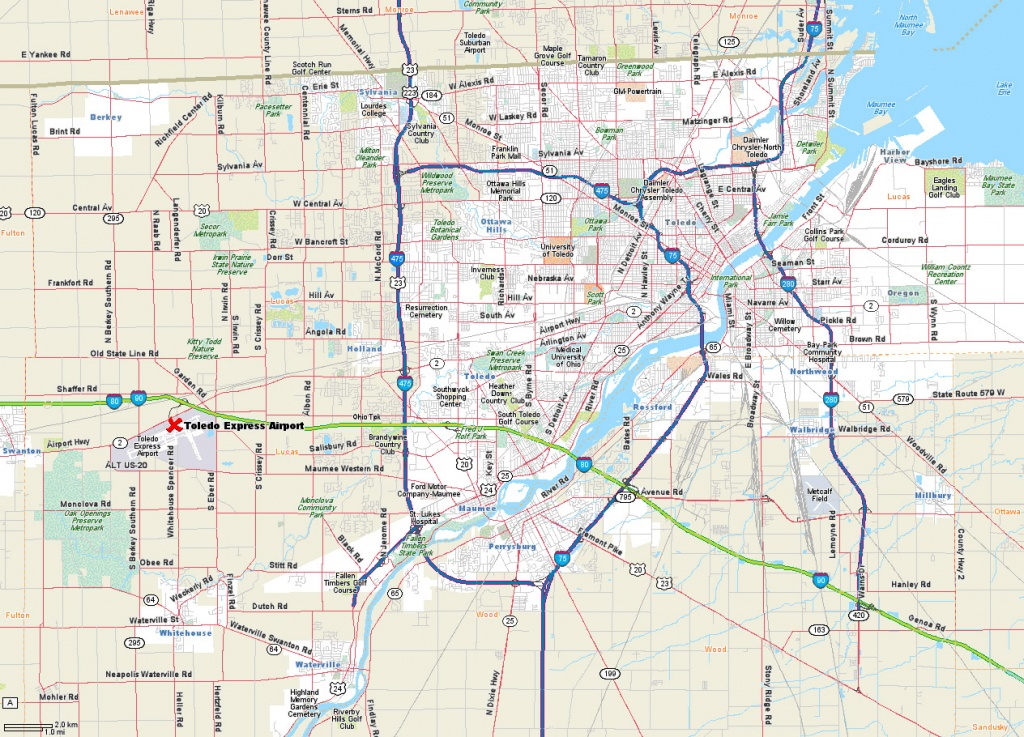 Map Of Toledo Ohio Area And Travel Information | Download Free Map - Printable Map Of Toledo Ohio