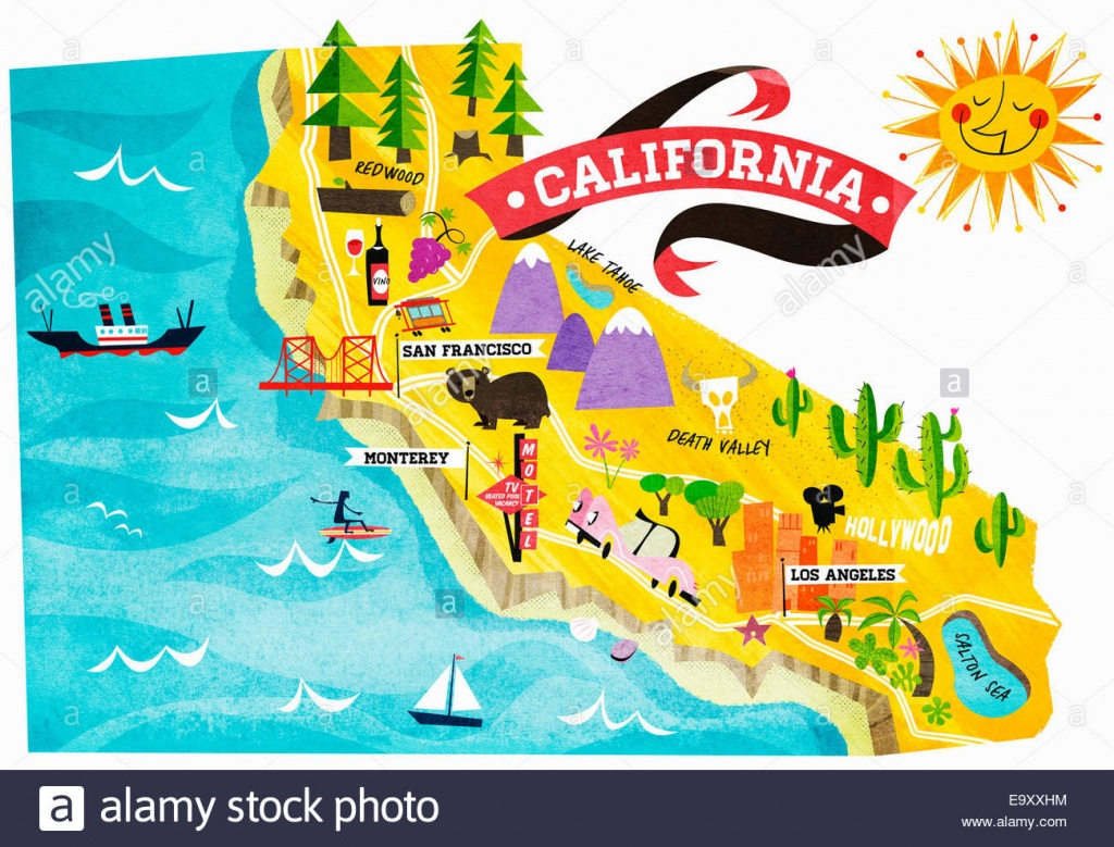 Map Of Tourist Attractions In California Stock Photo: 74965008 - Alamy - California Tourist Attractions Map
