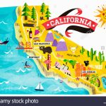 Map Of Tourist Attractions In California Stock Photo: 74965008   Alamy   California Tourist Map