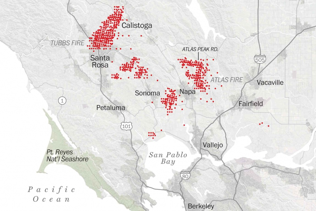 Map Of Tubbs Fire Santa Rosa - Washington Post - California Mountain Fire Map