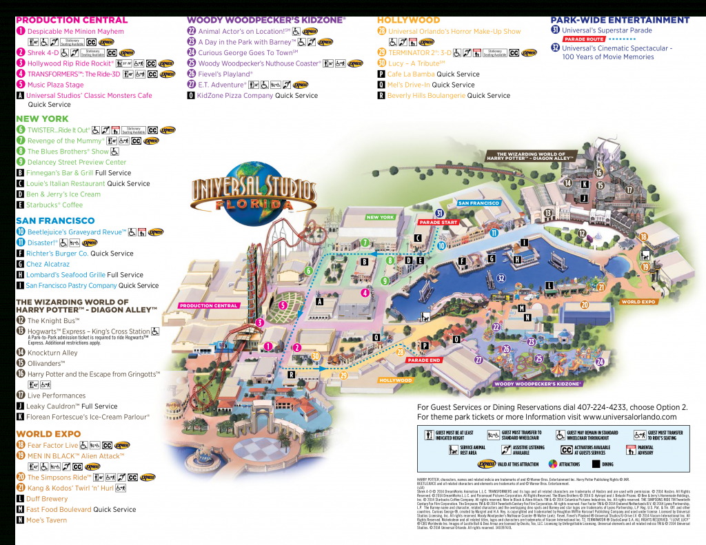 Map Of Universal Studios, Orlando Florida 2015 - 1✓ , 2✓ , 3 - Universal Studios Florida Park Map