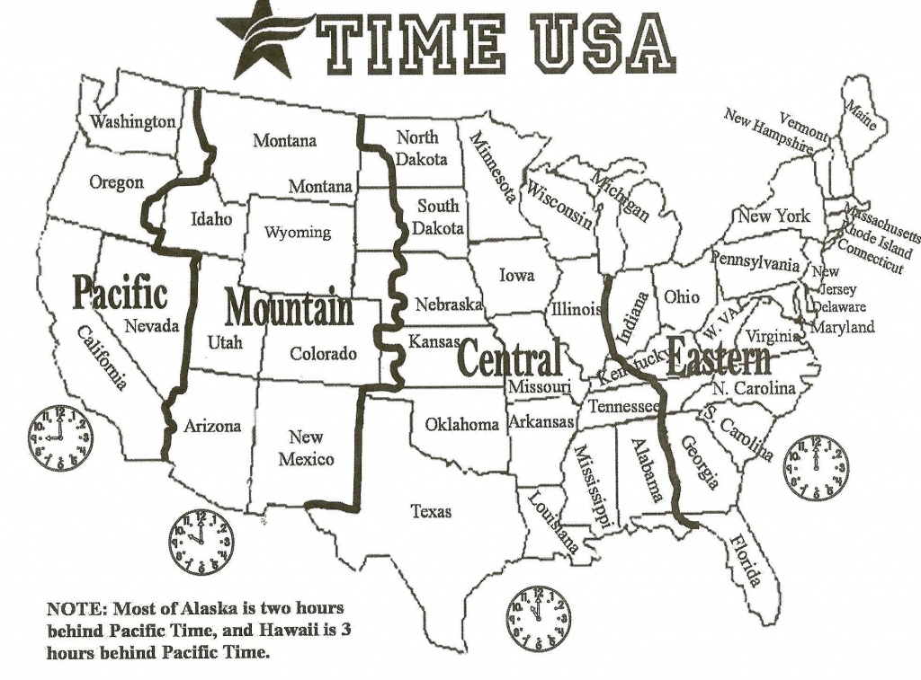 Map Of Us With Time Zones | Sitedesignco - Us Map With States And Time Zones Printable