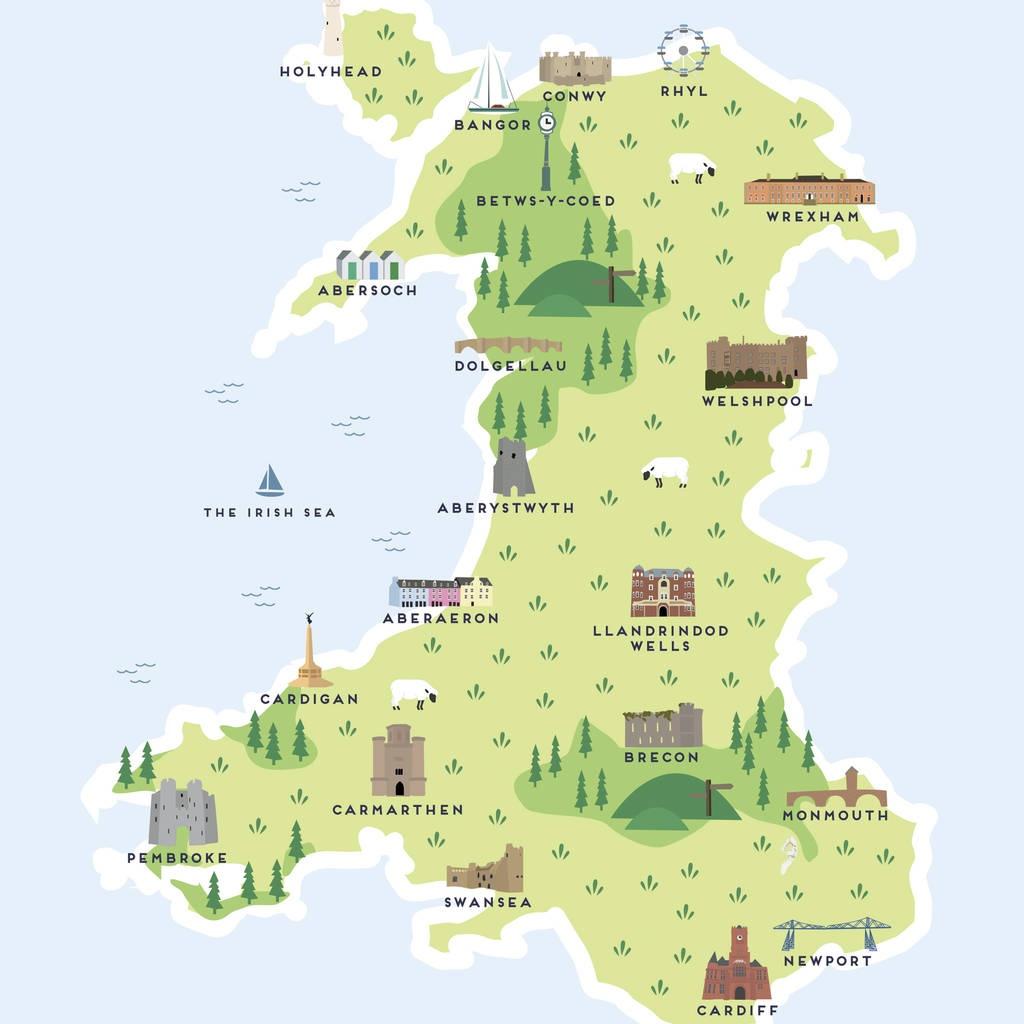 Map Of Wales Printpepper Pot Studios   Notonthehighstreet - Printable Map Of Wales