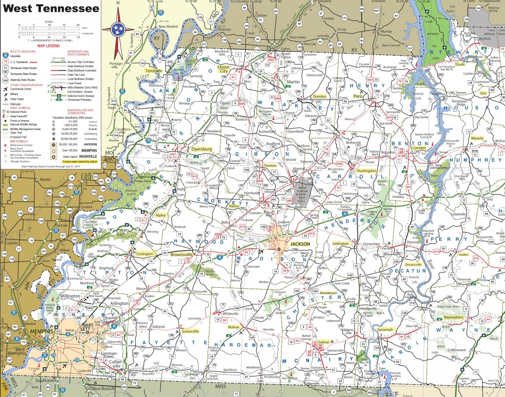 Map Of West Tennessee - Printable Map Of Tennessee With Cities