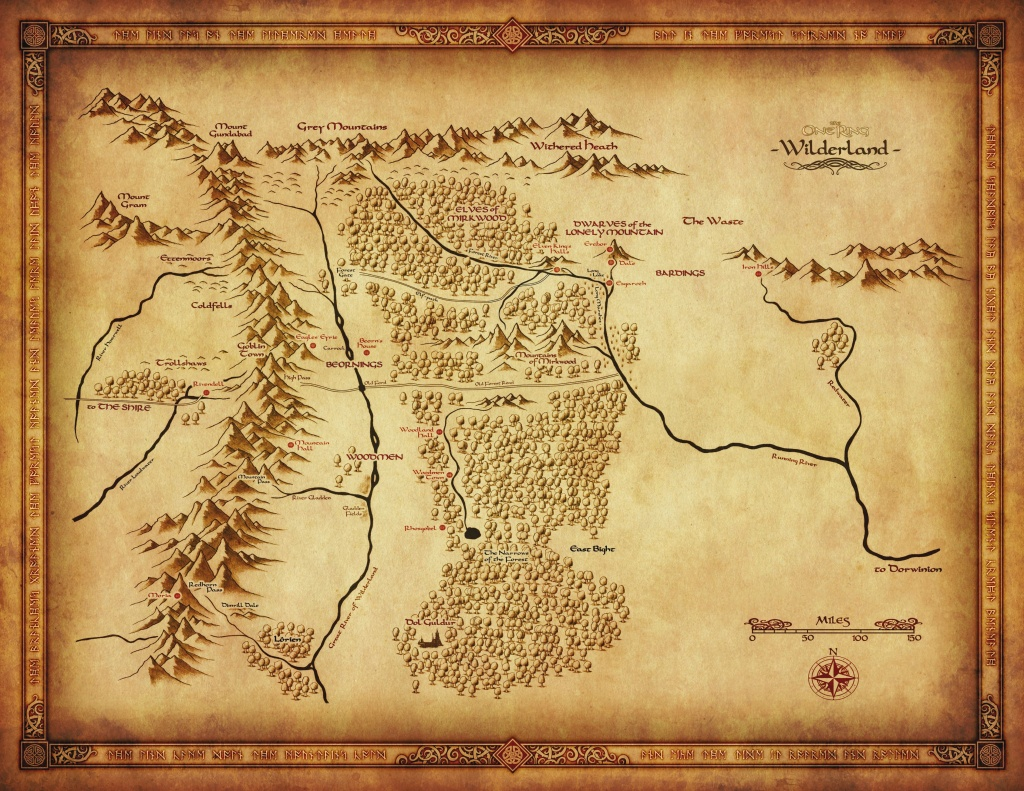 Map Of Wilderland From Cubicle 7 | The One Ring In 2019 | Middle - Thror's Map Printable