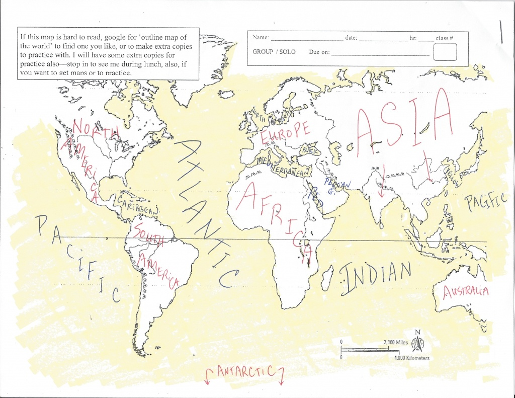 Map Quizzes - Hathaway World History And Geography - Continents And Oceans Map Quiz Printable