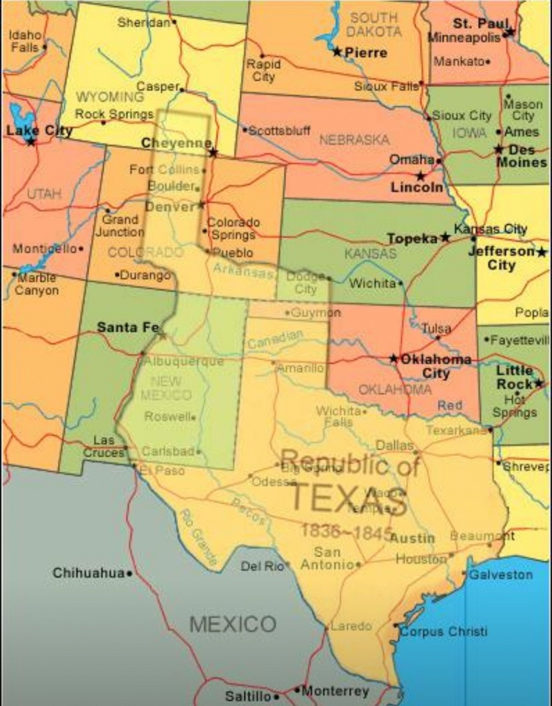 Map Showing Current Usa With The Republic Of Texas Superimposed - Texas Independence Map