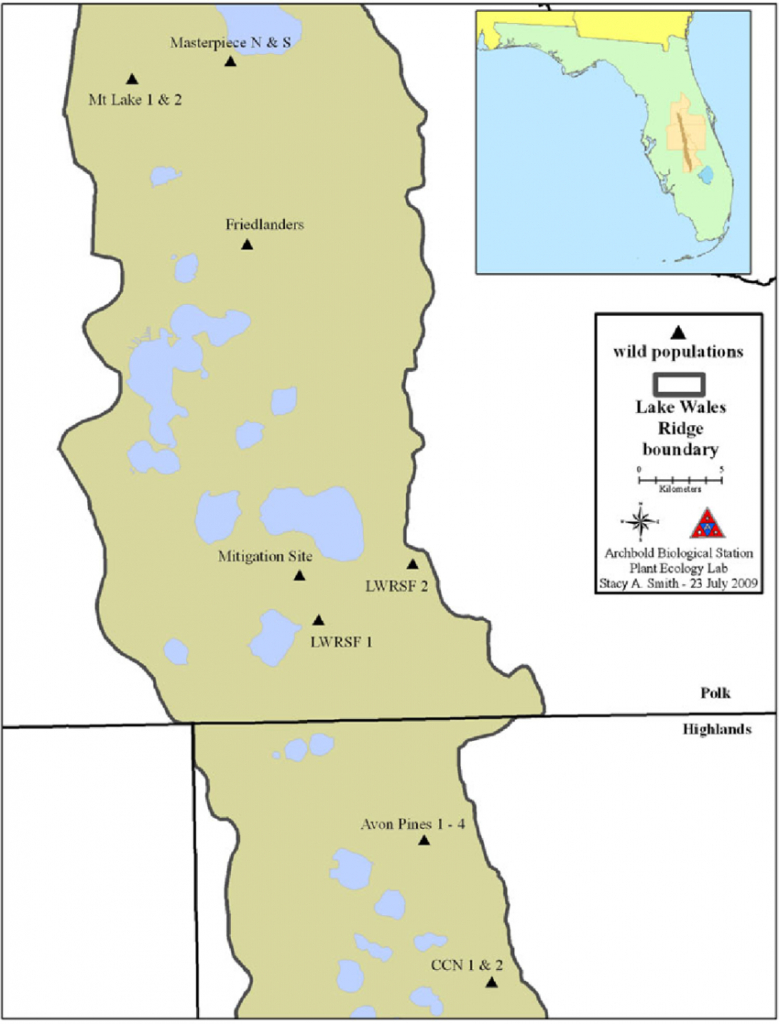 Map Showing The 14 Known Wild Populations Of Ziziphus Celata Along - Lake Wales Florida Map
