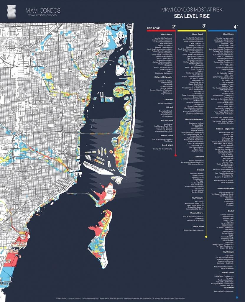 Map Shows Miami Condos Most Threatenedsea-Level Rise   Miami New - Coconut Grove Florida Map