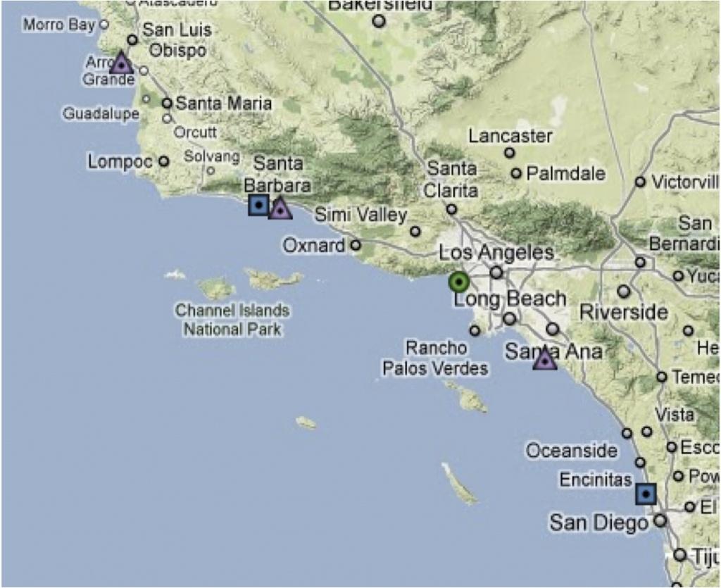 Map Southern California Coast Maps Of California Map Southern Inside - Map Of California Coast Beaches