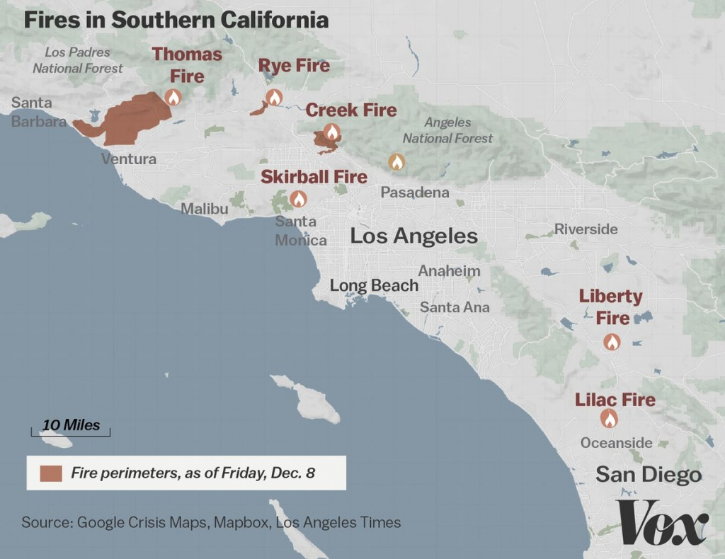 Map: Where Southern California's Massive Blazes Are Burning - Vox - Map Of Southern California Fires Today