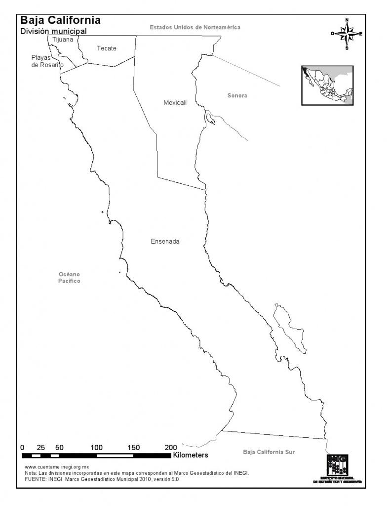 Mapa Para Imprimir De Baja California Mapa De Municipios De Baja - Baja California Norte Map