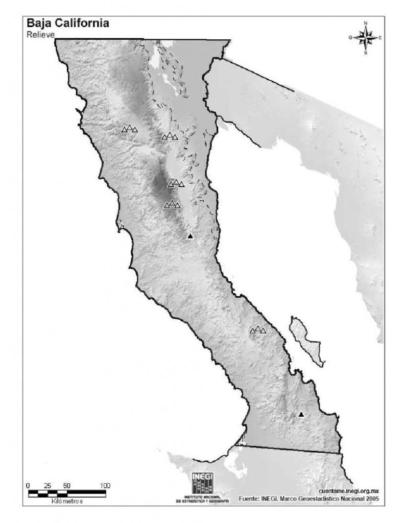Mapa Para Imprimir De Baja California Mapa Mudo De Montañas De Baja - Baja California Norte Map