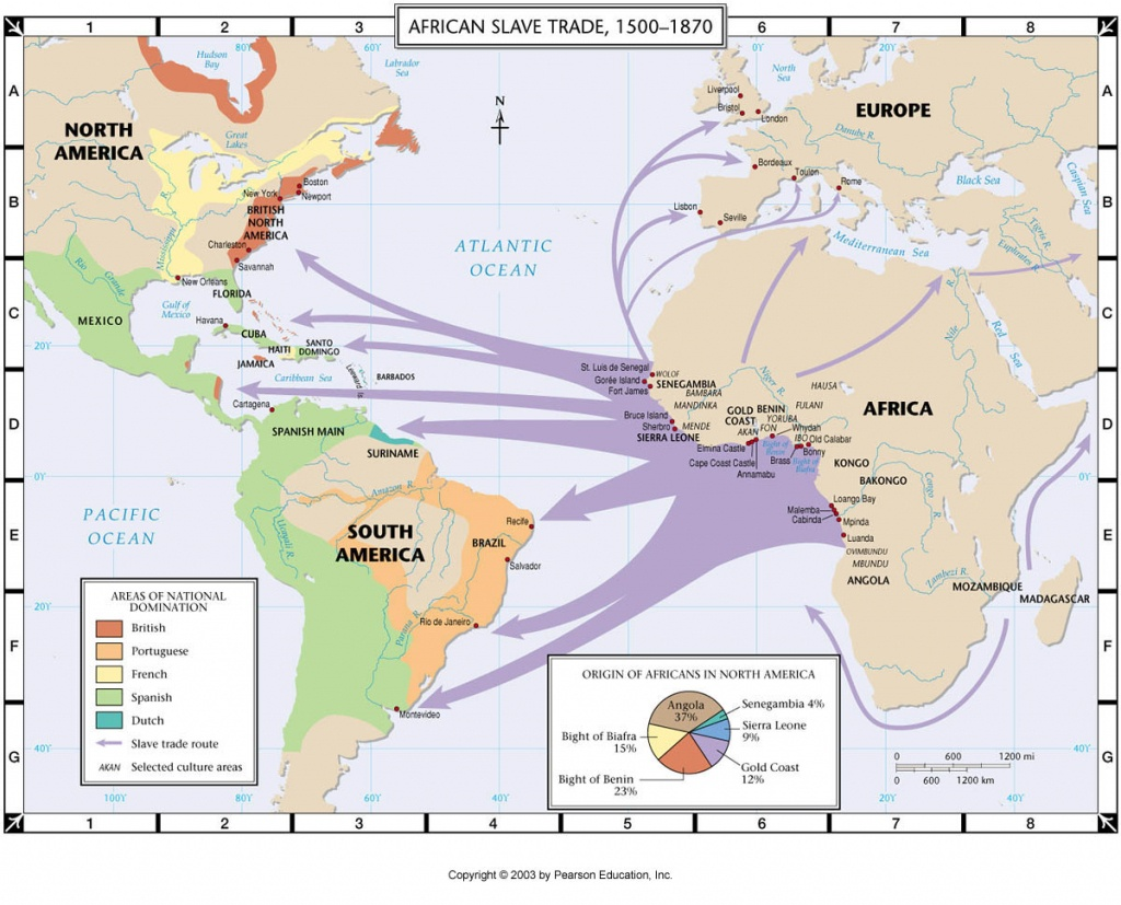 Maps | Africa And The Trans-Atlantic Slave Trade - Triangular Trade Map Printable