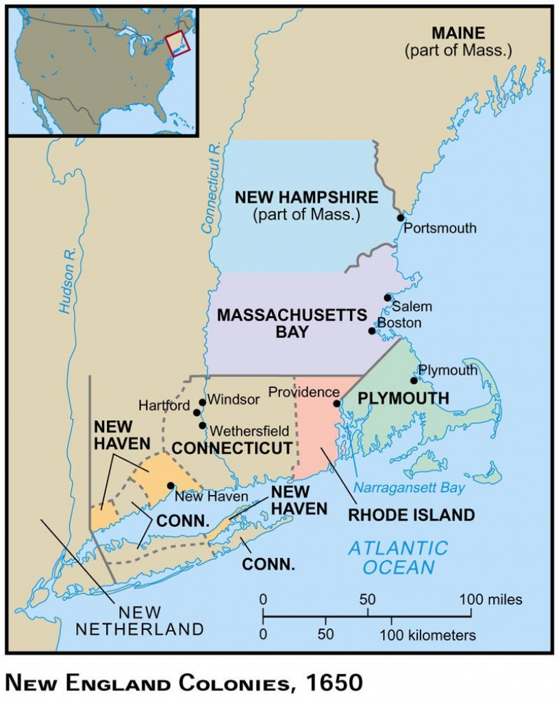 Maps, Charts & Graphs - New England Colonies Map Printable