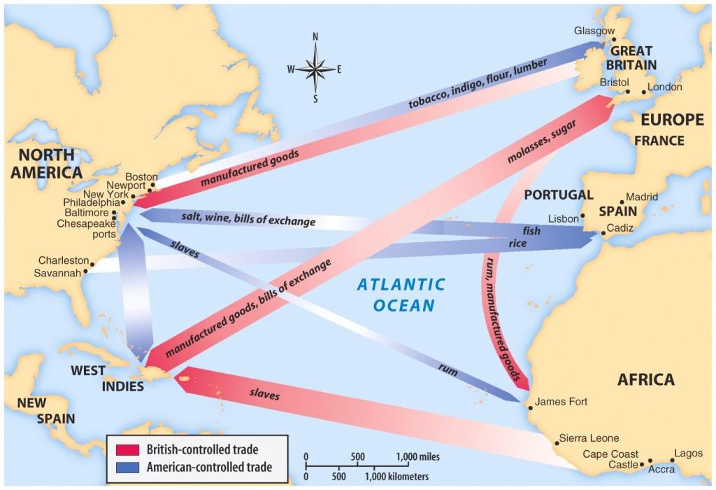 Maps, Charts & Graphs - Triangular Trade Map Printable