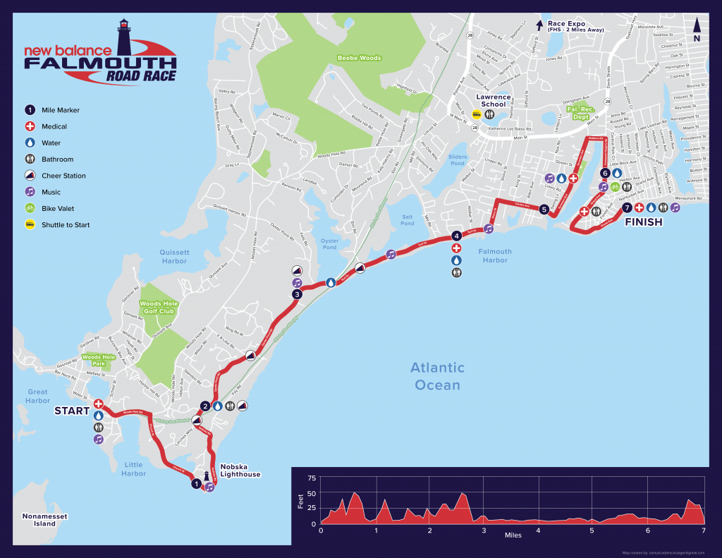 Maps - Falmouth Road Race - Printable Map Of Falmouth Ma