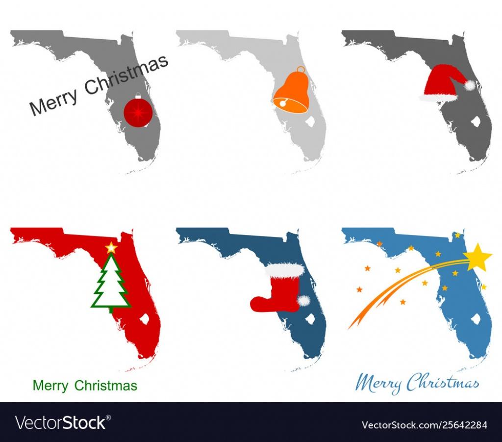 Maps Florida With Christmas Symbols - Christmas Florida Map