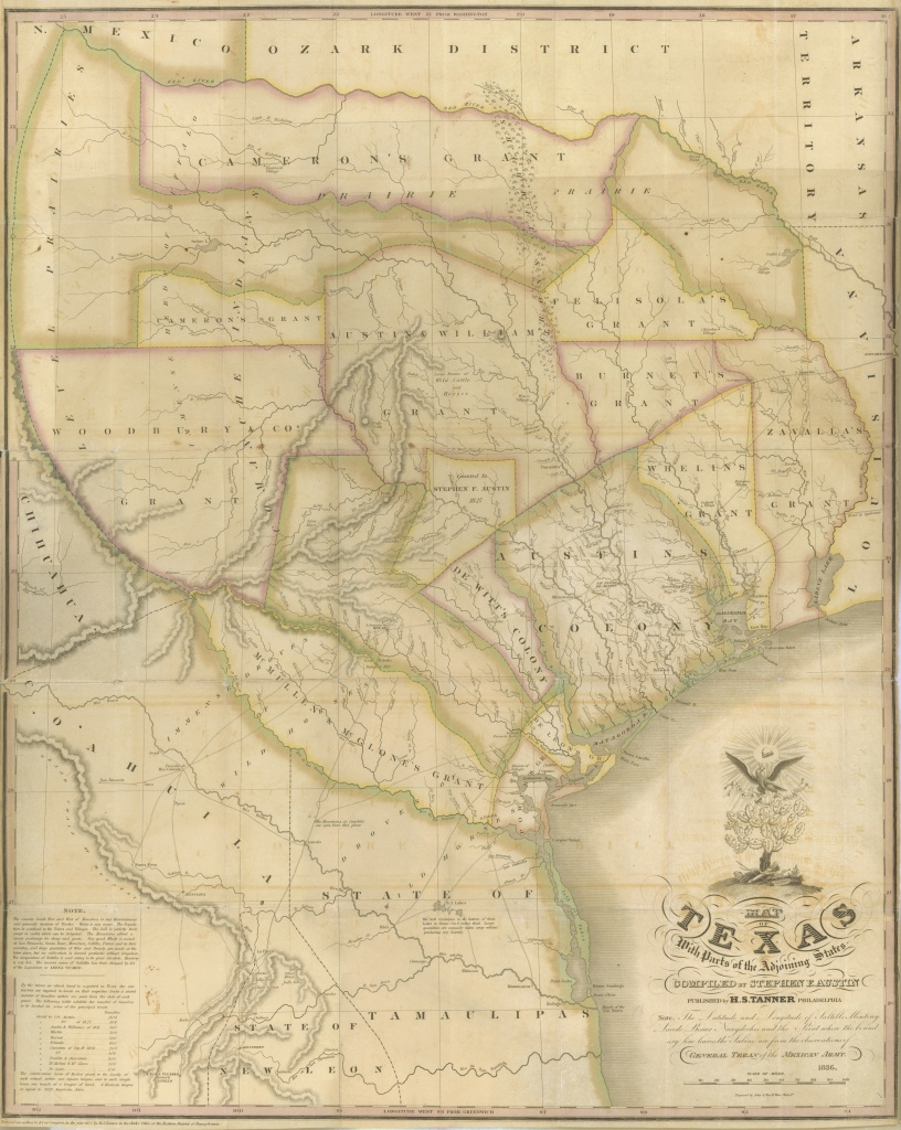 Maps: Map Of Texas With Parts Of The Adjoining States| A Continent - Stephen F Austin Map Of Texas