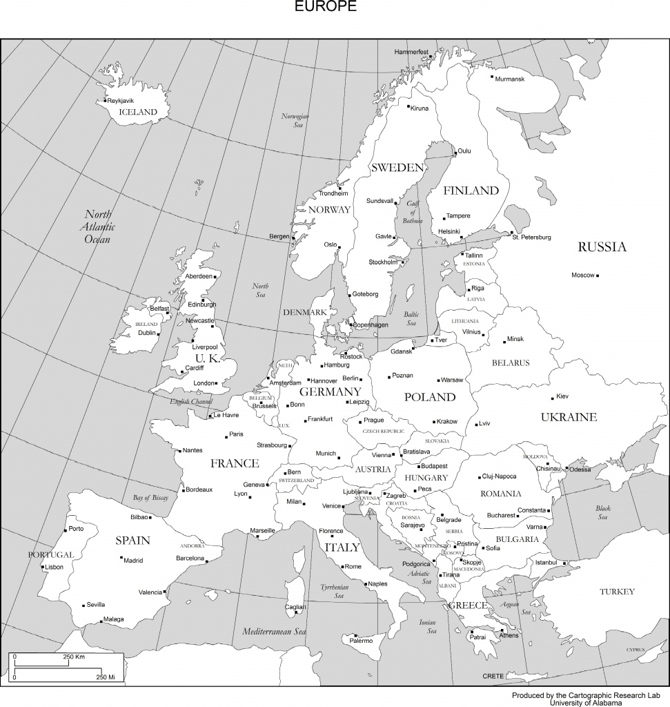 Maps Of Europe - Europe Map With Cities Printable