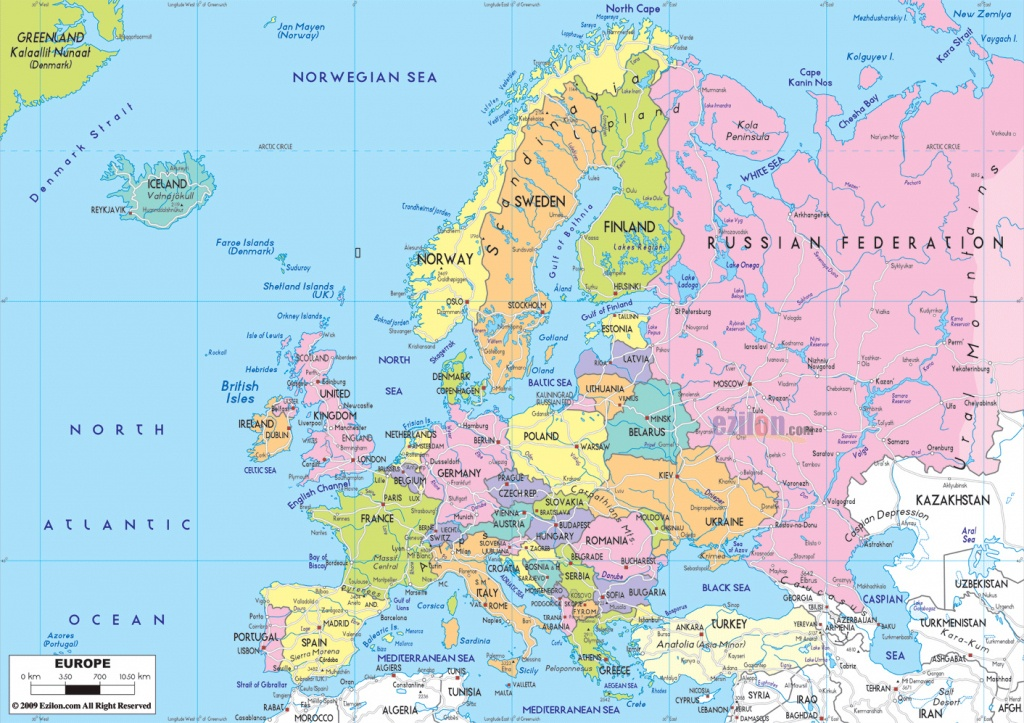 Maps Of Europe   Map Of Europe In English   Political - Large Map Of Europe Printable