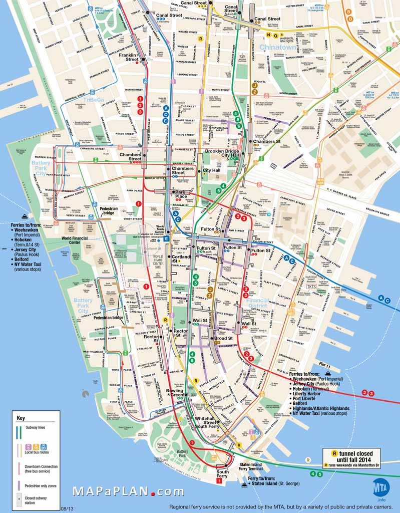 Maps Of New York Top Tourist Attractions - Free, Printable - Printable Map Of Lower Manhattan Streets