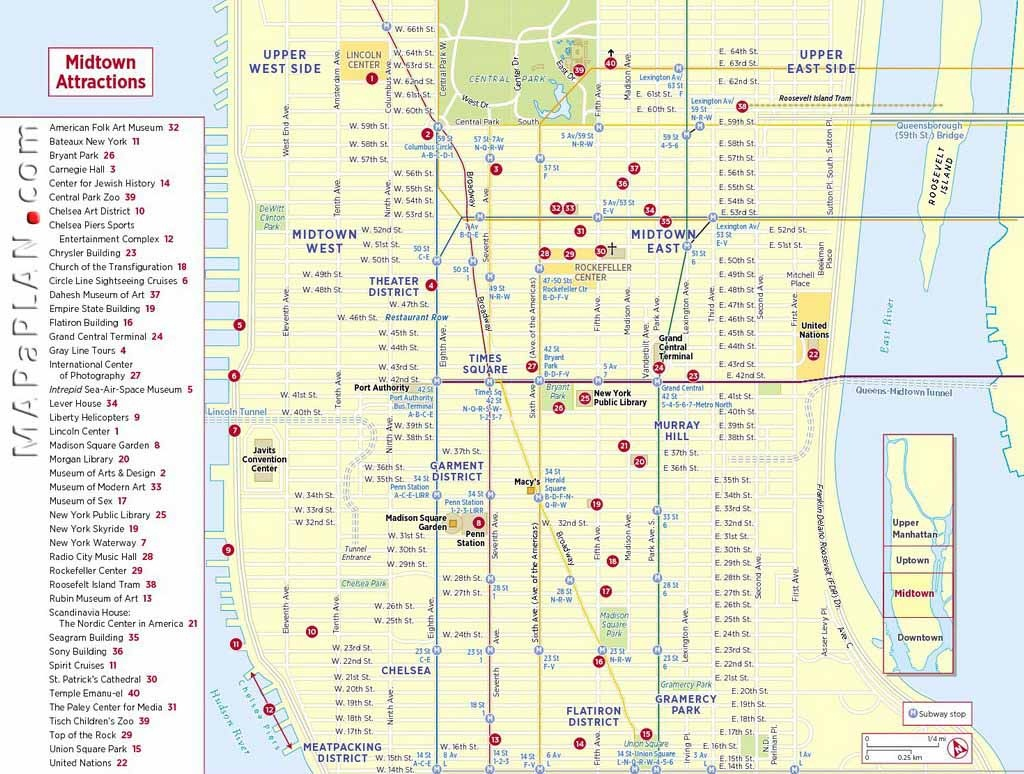 Maps Of New York Top Tourist Attractions - Free, Printable - Printable Map Of Manhattan Nyc